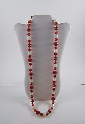4 pieces Vintage 1980s MONET Red and White Beaded Necklaces and Bracelets Set