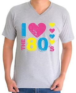 f3e1f8145 I Love the 80's V-neck T shirts Shirts Tops Men's 80s Party Costume ...