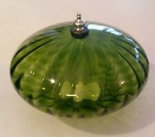 "Vintage Green Ribbed Glass & Brass Ceiling Light Cover Globe 3 7/8"" Fitter"