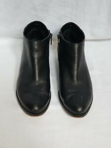 Vince-Camuto-Black-Leather-Cateen-Booties-Ankle-Boots-Inside-Zipper-Size-9-5-M