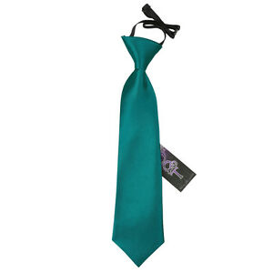 DQT-Satin-Plain-Solid-Teal-Kids-Elasticated-Pre-Tied-Page-Boys-Tie