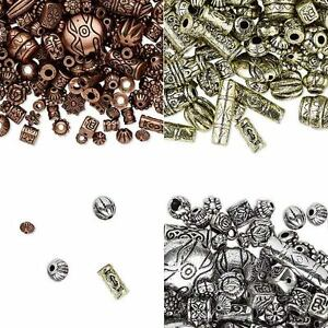 Huge-Lot-of-1300-Assorted-Metallic-Plastic-Spacer-Beads-in-Small-Big-Sizes