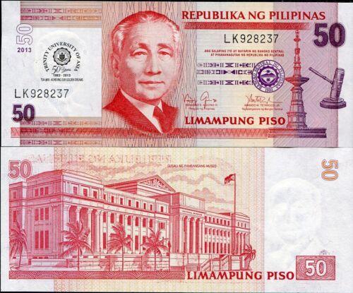 PHILIPPINES 50 PISOS 2013 50 YR TRINITY UNIVERSITY OF ASIA TUA P 216 UNC