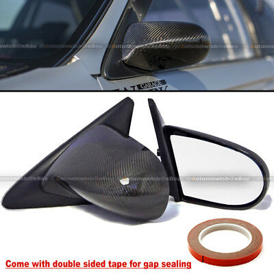 Fit 92-95 Civic 2//3DR Carbon Fiber Powered Adjustable Spoon Style Side Mirror