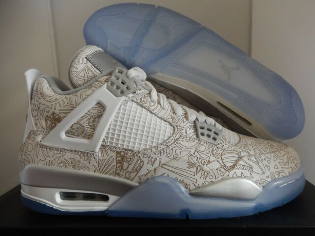 a4121239ef03d4 NIKE AIR JORDAN 4 RETRO LASER WHITE-CHROME-METALLIC SILVER SZ 11  705331