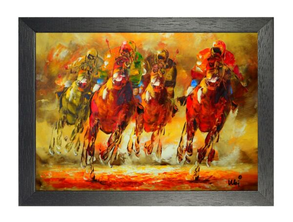 Stunning Horse Racing Painting Poster Wall Art Decoration Picture Animal Sport