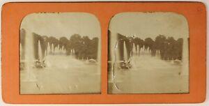 Versailles-Bassin-Da-Nettuno-Foto-Stereo-PL54L4n3-Diorama-Vintage-Albumina