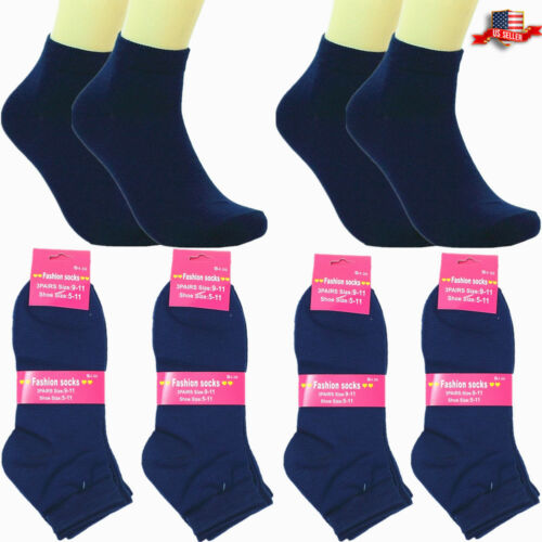 6-12 Pairs Women Ankle Low Cut Back to School Casual Cotton Socks 9-11 Dark Blue
