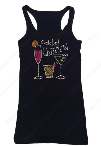"Sm to 3X Women/'s Rhinestone T-Shirt  /"" Cocktail Queen /"" in Size"