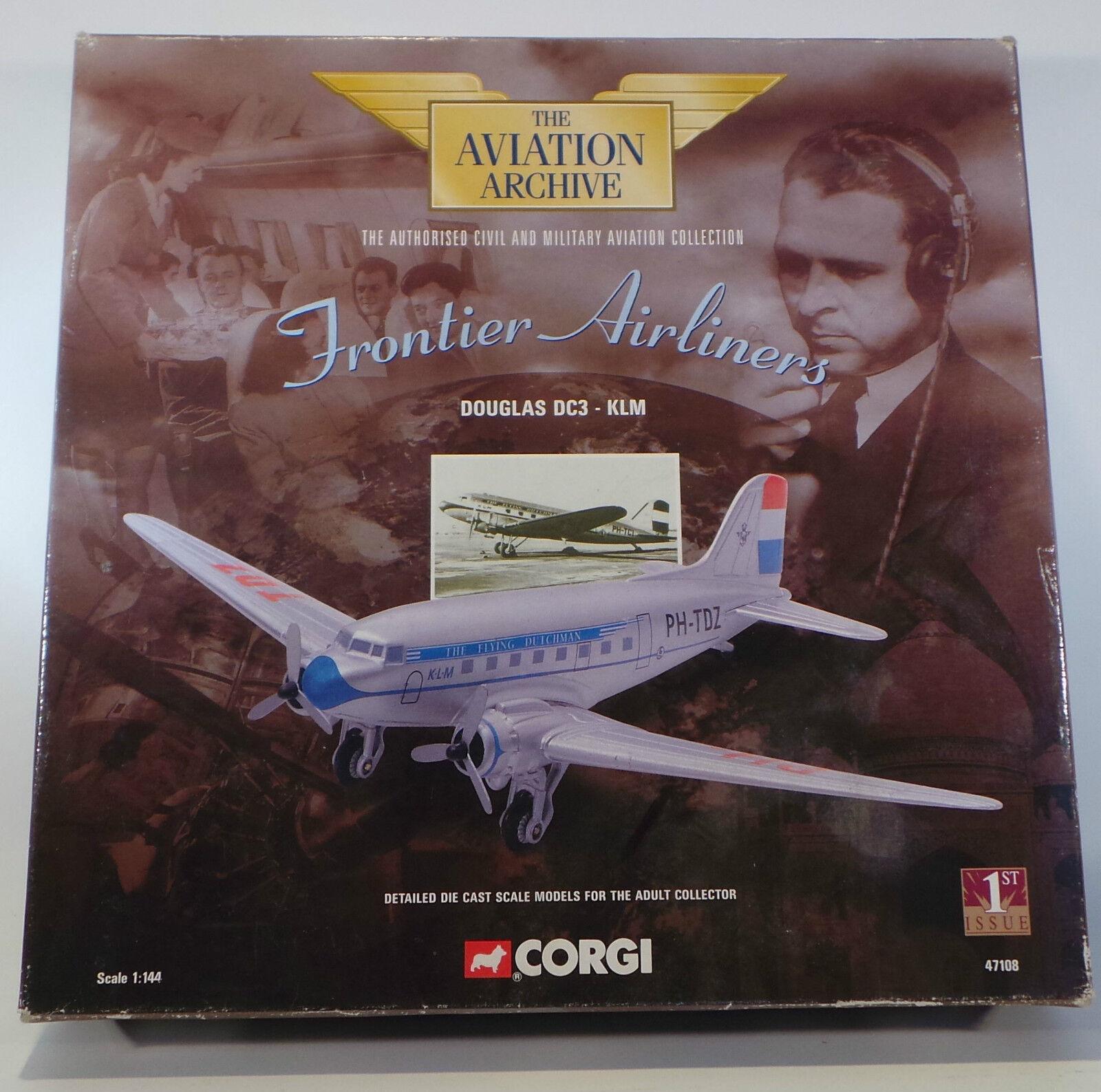AVIATION   DOUGLAS DC3 - KLM 1 144 SCALE CORGI DIECAST MODEL