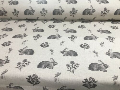 Country Hares Smoke Grey Linen//Cotton 140cm wide Curtain//Upholstery Fabric
