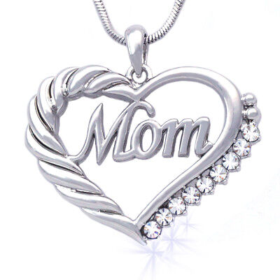 Heart MOM Necklace Mothers Day Birthday Gift for Wife Mom Crystal Gift Box N56