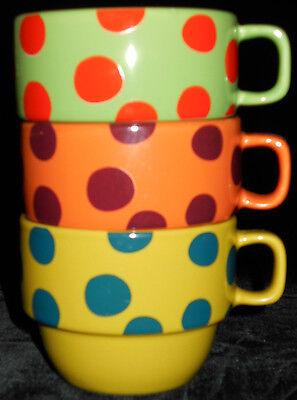 Coffee Mugs 3 Stackable Polka Dots World Market Lime & Pea Green Orange 5n46