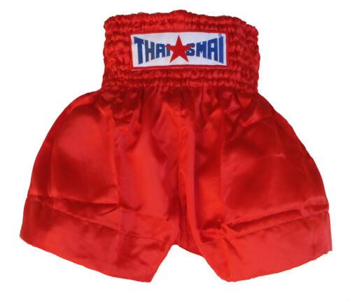 Short boxe Thaïlandaise / Muay Thai THAISMAI satin rouge toutes tailles