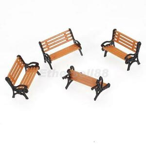 5pcs-1-75-HO-OO-Scale-Plastic-Model-Park-Bench-Black-Arm-Model-Landscape-Layout