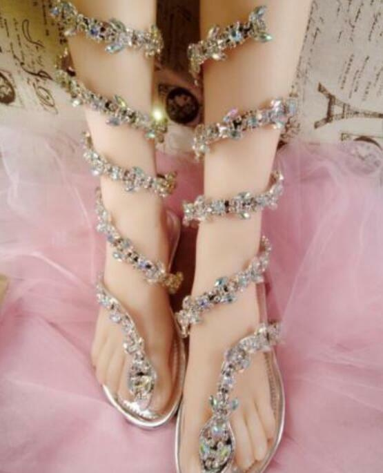 Womens Bling Rhinestone Ankle Snake Strappy  Mid Calf Gladiator Sandals Stiletto