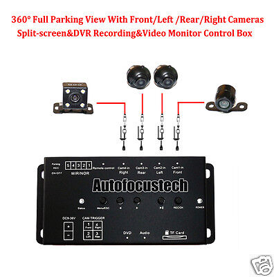360 Full Parking View Front//Rear//Left Right Blind 4 Cam Split-image DVR Recorder