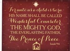 """~Post Card~Christmas-""""For Unto Us A Child...""""  Isaiah 9:6- /See Scans/  (B-100)"""