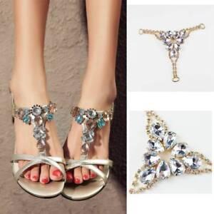 782d68256 1 Pair Sandals Decoration Chain Crystal Flip Flops Slippers Decor ...