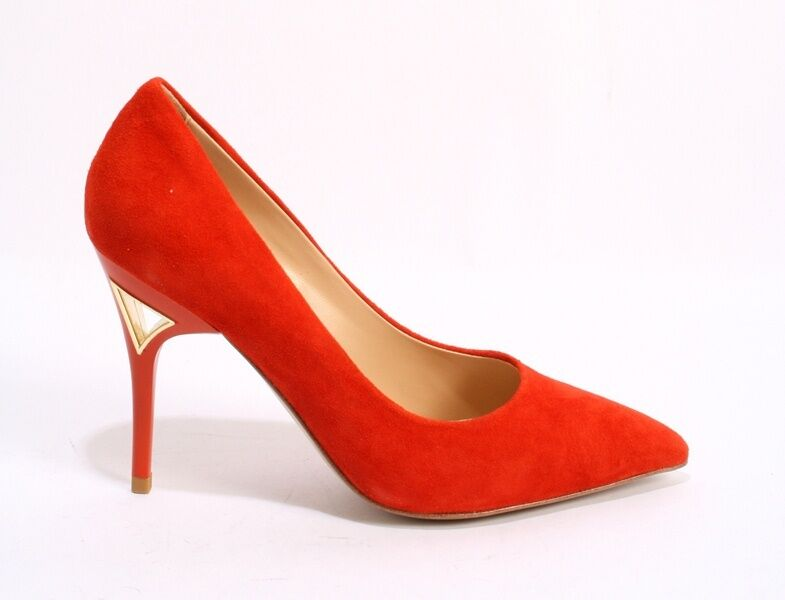 ReJois by Gianni Lorenzi 050ab Orange Suede Pointy Stiletto Shoes 37.5 /   7.5