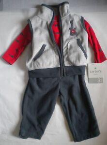 Carter/'s Boys 3 Piece Set Fleece Vest Top Pants 3 months Infant New