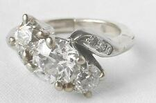 Stunning Vintage 14K Gold 1.40Ct 3 Stone European Diamond Bypass Ring~.70 Center