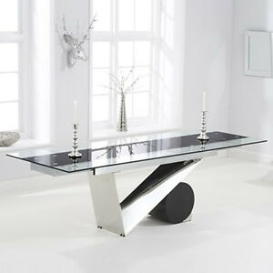 Luxury 10 12 seater extending glass dining table ebay for 12 seater glass dining table
