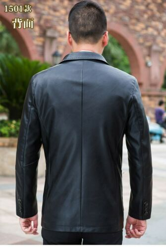 Hommes Slim Fit Manches Longues Veste en cuir Manteau papa Outwear deux boutons Automne Casual
