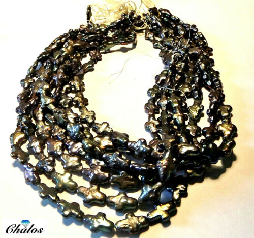 1298 Biwa perle-agua dulce cultivadas Strang negro//plata cruces 12x9 5mm