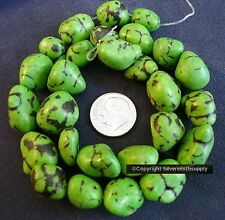 "Lime green coral turquoise nugget beads created reconstituted 14"" 12-16mm bs039"
