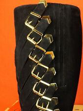 NIB LOUBOUTIN BLACK SUEDE LADY TROOP TALL ZIP GOLD BUCKLES PLATFORM BOOTS 37.5 7