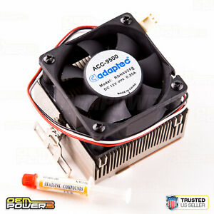 Socket-Intel-370-AMD-A-462-Aluminum-Copper-CPU-Heat-Sink-Cooling-Fan-Adaptec-NEW