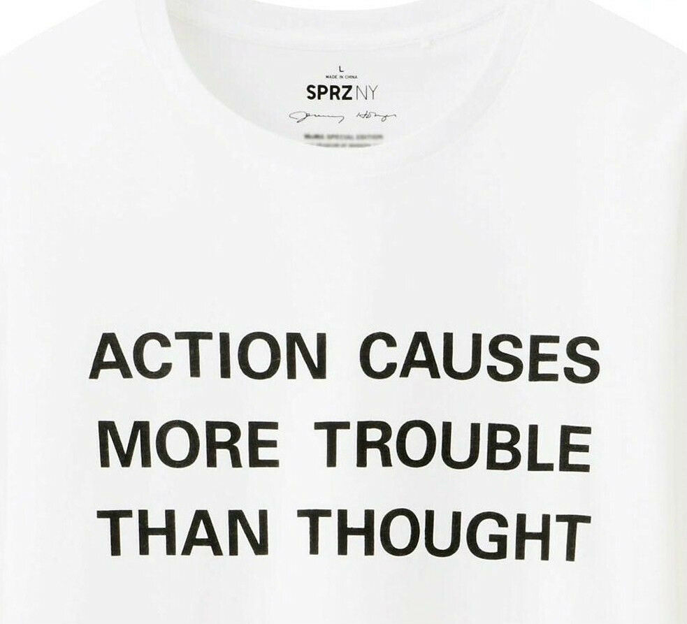 JENNY HOLZER x UNIQLO 'ACTION CAUSES MORE TROUBLE...' T-Shirt M Long-Sleeve NWT