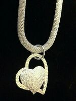Heart Pendant On A Beautiful Mesh Sterling Chain.