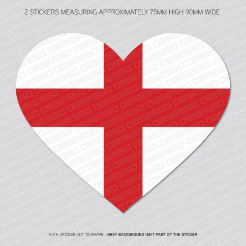 SKU5650 2 x George Cross Flag Heart Shape Vinyl Stickers Decals Window Car Van