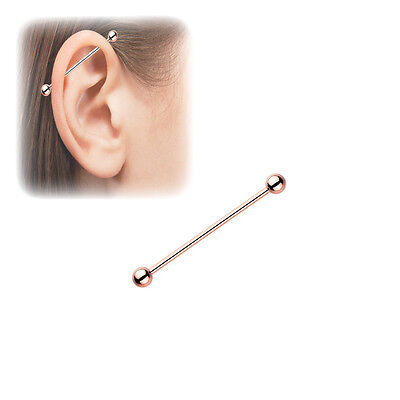 14g 16g Blue Beaded Rose Gold Industrial Barbell Scaffold Piercing