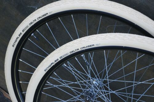 "28/"" Cream White Delta Cruiser Bicycle TIRES Vintage Raleigh Bike Wood Wheel 635R"