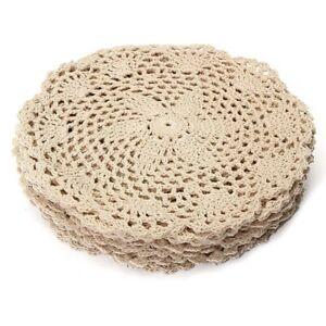 12Pcs Vintage Cotton Mat Round Hand Crocheted Lace Doilies Flower Coasters Lot