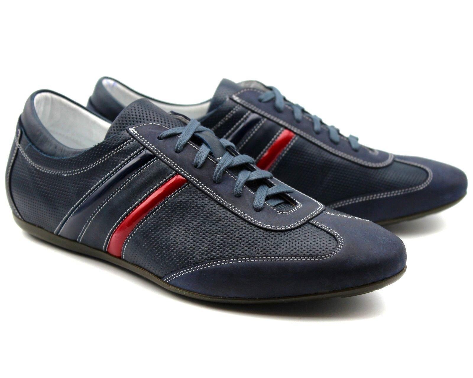 233 Reino Unido 6 Nuevo Para hombres Cuero Real Azul Marino Zapatillas Tenis Deportivas Zapatos