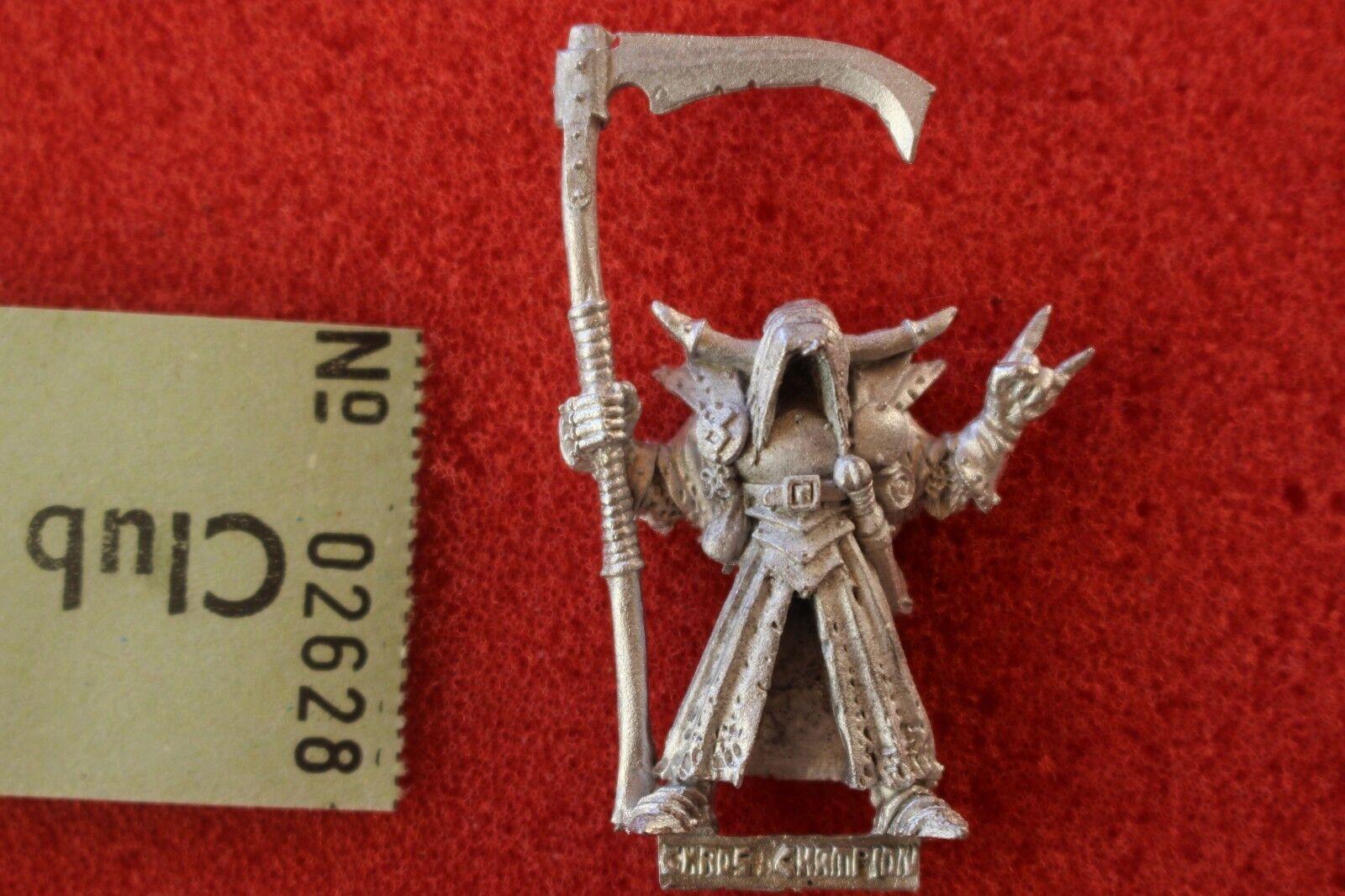 Games workshop warhammer chaos zauberer champion nurgle mit sycthe und metall