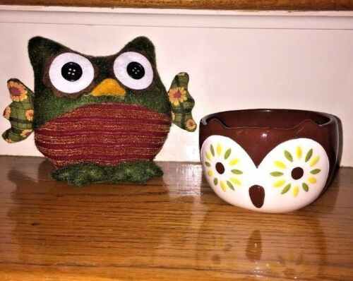 Antique Primitive OWL FELT BUTTON EYES Doll + BOWL Owl Ceramic Corning Ware SET