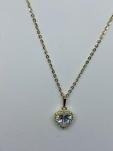 """9ct, 375 Real Gold CZ Heart Cluster Necklace With 18"""" Chain Brand New"""