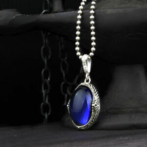 Turkish-925-sterling-silver-Blue-Sapphire-Stone-Mens-Mans-Necklace-Pendant