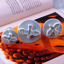 3pcs Dove Shape Fondant Cookie Cake Bread Sugarcraft Plunger Cutters Mold Tools
