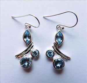 Designer-Blautopas-Ohrhaenger-3-40-Carat-Ohrschmuck-925-Silber-Rhod