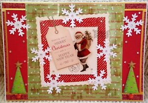 Luxury-Handmade-Personalised-Large-A4-CHRISTMAS-CARD-Santa-Delivering-Presents