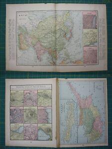 Asia cyprus vintage original 1899 crams world atlas map lot ebay image is loading asia cyprus vintage original 1899 cram 039 s gumiabroncs Image collections