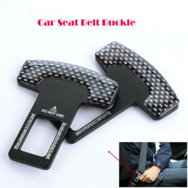 2x Black Car Safety Seat Belt Buckle Alarm Stopper Clip Clamp for Car Truck SUV