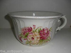 ANTIQUE-White-Ceramic-Chamber-Pot-with-Floral-Design-PLANTER-88