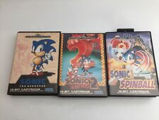 SEGA MEGADRIVE BUNDLE HEDGEHOG GAMES SONIC 1 + 2  + SPINBALL